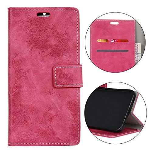 Sunrive Hülle Für Alcatel A7 XL 7071D, Magnetisch Schaltfläche Ledertasche Schutzhülle Case Handyhülle Schalen Handy Tasche Lederhülle(Retro Magenta)+Gratis Universal Eingabestift