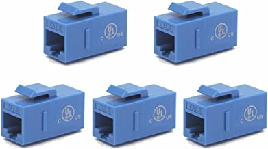 VCE CAT6 Keystone Coupler,RJ45 Female to Female Ethernet Insert Jack, 5-Pack UTP Network Inline Connector - Blue UL Listed