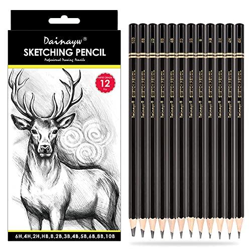 Dainayw Professional Drawing Sketching Pencil Set, 12 Pieces Art Pencils 10B, 8B, 6B, 5B, 4B, 3B,...
