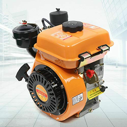 Diesel Engine 4 Stroke 6HP 168F 196CC Single Cylinder Forced Air Cooling Diesel Engine for Agricultural Machinery (6HP 168F 196CC Yellow)