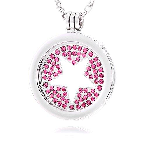 Morella Mujeres Collar 70 cm Acero Inoxidable y Colgante Amuleto Coin 33 mm Estrella y Piedras brillants de Color Rosa 33 mm para Damas, en Bolsa para Joyas