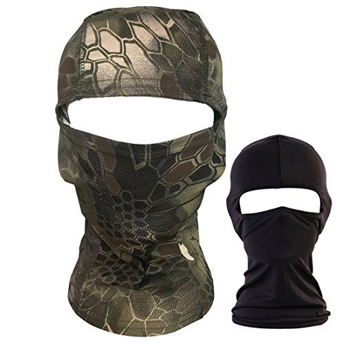 QHIU Táctico Camuflaje Ninja Hood Capucha Completa Cara Cuello Máscara Balaclava Aire Libre Deporte Ejército Ciclismo Motocicleta Militar Paintball Airsoft Sombrerería(2 Paquetes)