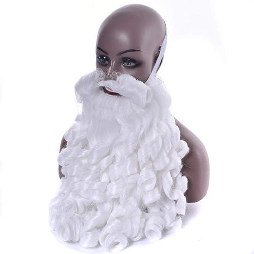 Weißachten Kostümzubeh Weißachtsmann Perücken und Bart Kunsthaar WeißCosplay Perücke Kopfbedeckung für Weißachten Halloween, 2,12inches