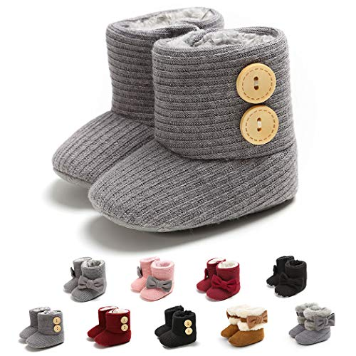 Baby Girl Plush Winter Snow Boots Bowknot Anti Slip Warm Infant Boots Toddler Prewalkers (0-6 Months Infant, 1-Brown)