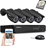 [TRUE 1080p] SANSCO HD CCTV Camera System, 4 Channel 5MP Surveillance DVR with (4) 2MP Outdoor Bullet Cameras and 1TB Hard Drive (1920x1080p, All Metal and Vandal-Proof Housing, Continuous/Motion Recording, Rapid USB Backup, Easy Mobile Viewing, Instant Push Notifications and Email Alerts on Movement Detection)