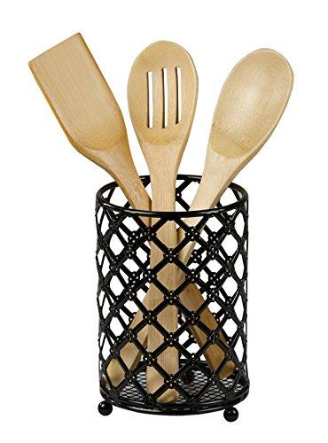 Home Basics Beautiful Heavy Duty Steel Lattice Cutlery Holder Utensil Organizer Rustresistant Free Standing Black