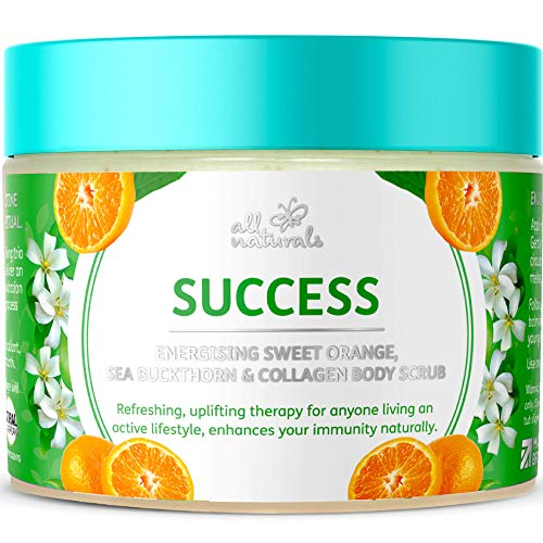 All Naturals, Exfoliating Body Scrub with Collagen - Sweet Orange, 400g Intensive Skin Nourishing & Softening Treatment. Gifts for Women, Girls.