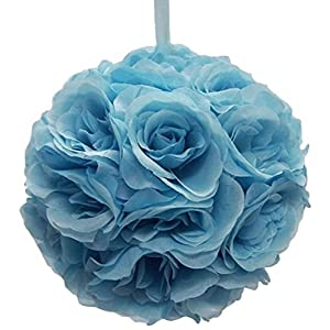 Ben Collection 10″ Flower Rose Kissing Ball Multi Color Home Wedding Decoration (Light Blue, 1)