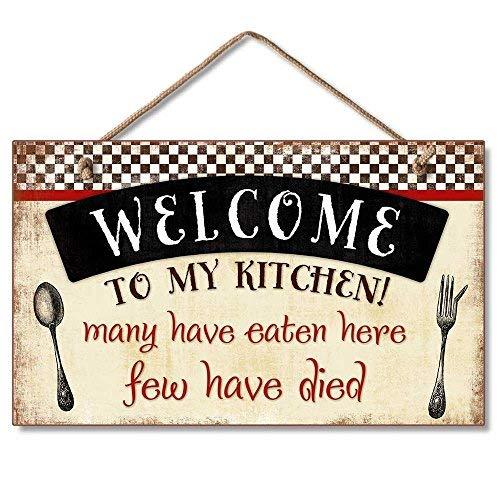 prz0vprz0v Welkom In Mijn Keuken Decoratieve Houten Wandplaat Met Gevlochten Touw Voor Ophangen Rood, Zwart, Crème 9 X 6 Home Decor Wanddecoratie Deurbord