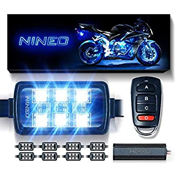 NINEO 8 pcs Motorcycle RGB LED Strip Lights Kit  Multi-Color Neon w/Smart Remote Controller  Compatible with Golf Carts Trikes Cruiser Scooter ATVs UTVs
