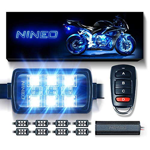 NINEO 8 pcs Motorcycle RGB LED Strip Lights Kit| Multi-Color Neon w/Smart Remote Controller| Compatible with Golf Carts Trikes Cruiser Scooter ATVs UTVs
