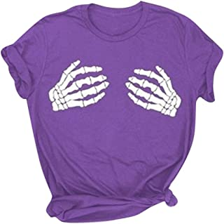 catmoew Camisetas Mujer Manga Corta con Estampado Vintage Tops Mujer Casual de Verano T Shirt Mujer Camiseta Holgada Camis...