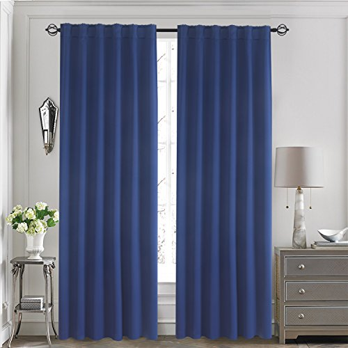 "Aquazolax Back Tab/Rod Pocket Solid Blackout Curtain Panels for Kids Bedroom - with 7 Back Loops per Panel, 2 Panels, 52""x84"", Navy Blue"