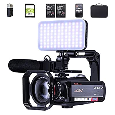 4K Camcorder 12X Optical Zoom Video Camera ORDRO HDR-AC5 UHD 1080P 60FPS Vlog Camera Video Recorder with Mic Led Light Wide-Angle Lens Handheld Holder Lens Hood Carrying Case 2 Batteries 32G SD Card by ORDRO