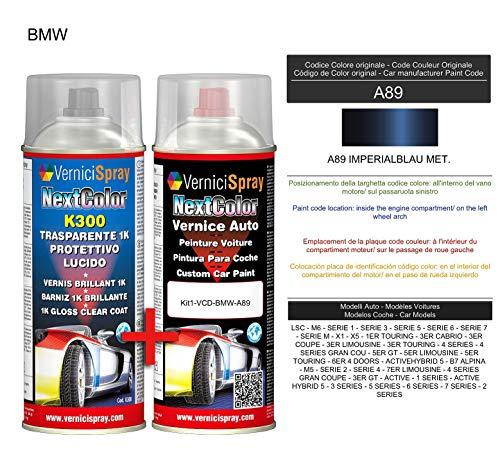 Kit Vernice Auto Spray A89 IMPERIALBLAU MET. e Trasparente Lucido Spray - kit ritocco vernice metallizzata 400+400 ml di VerniciSpray