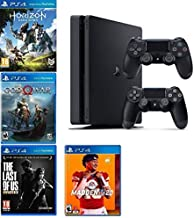 2019 Playstation 4 Slim PS4 1TB Console + Two Dualshock-4 Wireless Controllers (Jet Black) + 4 Games (Madden NFL 20, The L...
