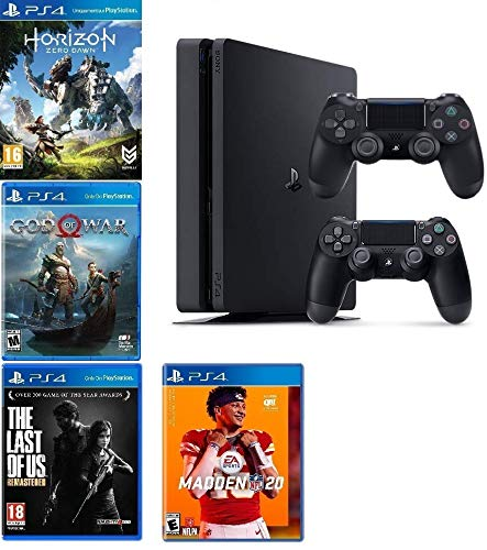 2019 Playstation 4 Slim PS4 1TB Console + Two Dualshock-4 Wireless Controllers (Jet Black) + 4 Games (Madden NFL 20, The Last of US, etc) Bundle (Best Indie Pc Games 2019)