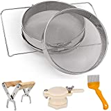 Honey Strainer Double Sieve Stainless Steel, Fine Mesh Honey Filter 2 Screen with Retractable Holder, Frame Grip, Uncapping Fork, Honey Gate Extractor, Set of 4 Beekeeping Equipment