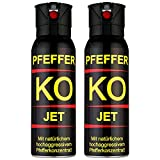 KO Pfefferspray Jet | Fog Verteidigungsspray | Abwehrspray Hundeabwehr | zur Selbstverteidigung | Sparset | Made in Germany (Jet 100 ML 2 STK)