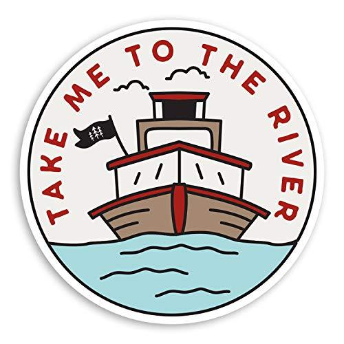 2 pegatinas de vinilo con cita de barco del río de 10 cm, etiqueta engomada del papá del barco de vela #29124