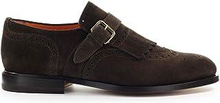 Moda Santoni Hombre MCCO13976JC7IPMST61 Marrón Gamuza Zapatos con Correa Monk | Primavera-Verano 20