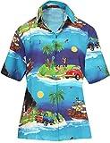 LA LEELA Camisa Hawaiana botón de Las Mujeres Abajo túnica Christmas Tree Jingle BELLSChristmas Azul_X206 XL-ES Tamaño : 48-50