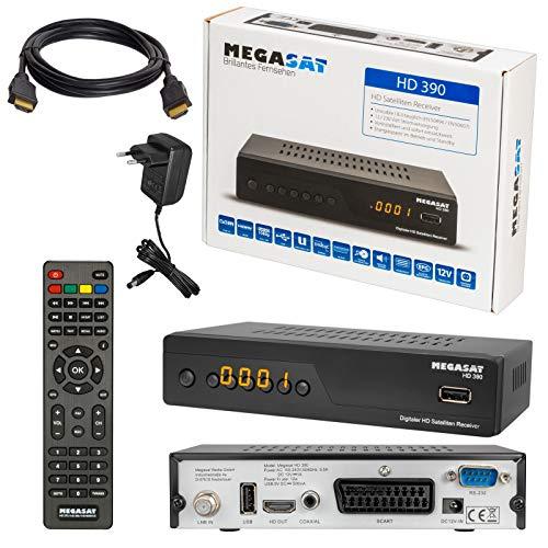 SATELLITEN SAT Receiver ✨ HB DIGITAL DVB-S/S2 Set: MEGASAT HD 390 DVB-S/S2 Receiver + HDMI Kabel mit vergoldeten Anschlüssen (HDTV, HDMI, SCART, USB, Coaxial Digital Audio)