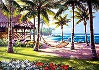 """大人のための5DDIYダイヤモンド塗装キットフルドリル 刺繡クロスステッチ、リビングルームの壁の装飾のためのアートクラフトサプライ ビーチ/青い空/滝/島/愛の風景-12""""x16"""" 24"""