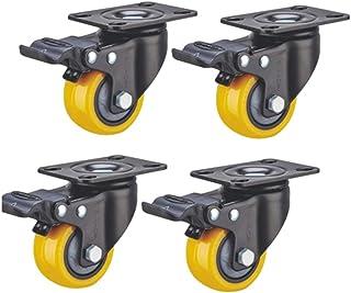 4 Lenkrollen Pu Gummi Heavy Duty Verschlei/ßfeste Doppelkugel Lenkrolle mit Bremsen f/ür M/öbelwagen Einkaufswagen
