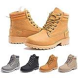 Botas Mujer invierno Botines Nieve Zapatillas Trekking Calentitas Boots Cordones Zapatillas Planas AntideslizanteCasuales Marrón Talla 42 EU