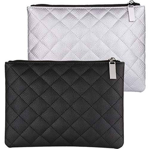 Makeup Bag for Purse, 2 Pcs Cosmetic Pouch PU Leather Travel Makeup Bag Purse Large Cosmetic Bags for Women Portable Brush Organizer Pouch 9x 6.8inch (BlackGrey)