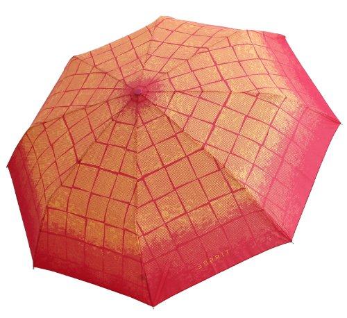 ESPRIT Regenschirm Damenschirm Karo, Farbvariante:pink / gelb