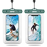 JOTO Floating Waterproof Phone Pouch up to 7.0', Float Waterproof Case Underwater Dry Bag for iPhone 12 Pro Max 11 XS XR 8 7 Plus Galaxy Pixel for Pool Beach Swimming Kayak Travel -2 Pack,Green