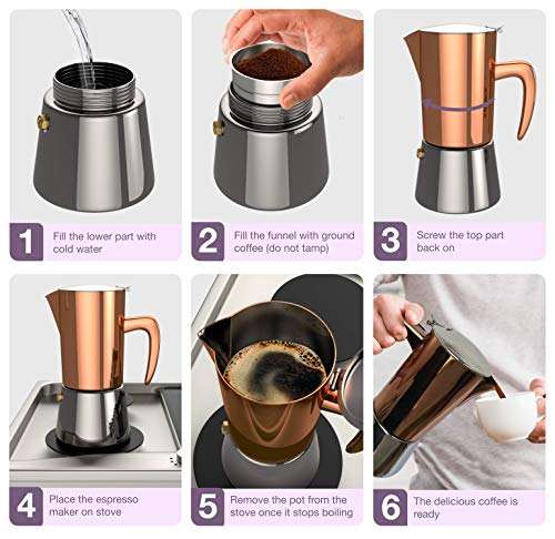 bonVIVO Intenca Stovetop Espresso Maker, Italian Espresso Coffee Maker, Stainless Steel Espresso Maker Machine For Full Bodied Coffee, Espresso Pot For 5-6 Cups, Moka Pot With Copper Chrome Finish