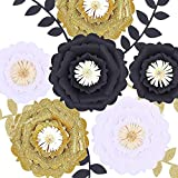 Fonder Mols Large 3D Paper Flowers Decorations for Wall (Black Gold White, Set of 6), Wedding, Bridal Shower, Baby Shower, Nursery Decor, Centerpieces, Paper Roses Backdrop, Party, NO DIY