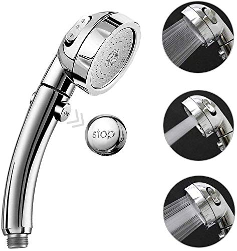 OrchidBest Shower Head with ON/OFF Pause Switch 3 Spray Settings Handheld Showerhead Water Saving Sprayer Multi-functional Detachable Shower Heads, SPA Shower Experience