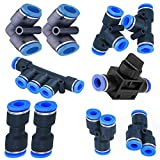 Utah Pneumatic 8mm or 5/16 od Push to Connect air line Tube Fittings Pneumatic Fittings kit 2 Spliters+2 Elbows+2 tee+2 Straight+1 Manifold+ Hand Valves air line Quick Connect 10 Pack