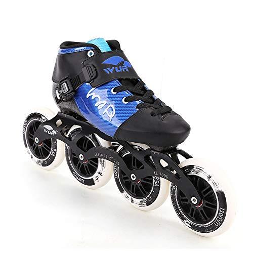 YZJYB Adult Professional Inline Skates Einstellbar 4 * 90-110 mm Verschleißfest Carbon Fiber Rollerblade FÜR Kinder Eisschnelllauf Draussen Bewegung,45