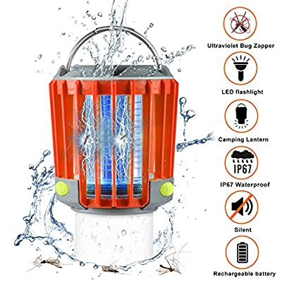 Bug Zapper Portable Camping Lantern with LED Flashlight 3-in-1 Ultra Bright 350LM/2200mAh Battery 16H Lifetime/IP67 Waterproof/SOS Emergency Light for Indoor Outdoor Camping Garden Yard (Orange)