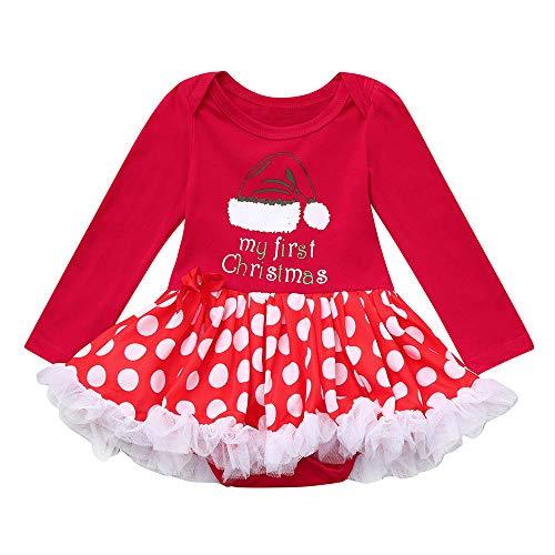 Cuteelf Baby Langarm Kleid Weihnachten Mesh Rock Spitzenkleid Neugeborenes Baby Baby Mädchen Weihnachten Ballett Tüll Tüll Kleid Overall Festliche Dress Up