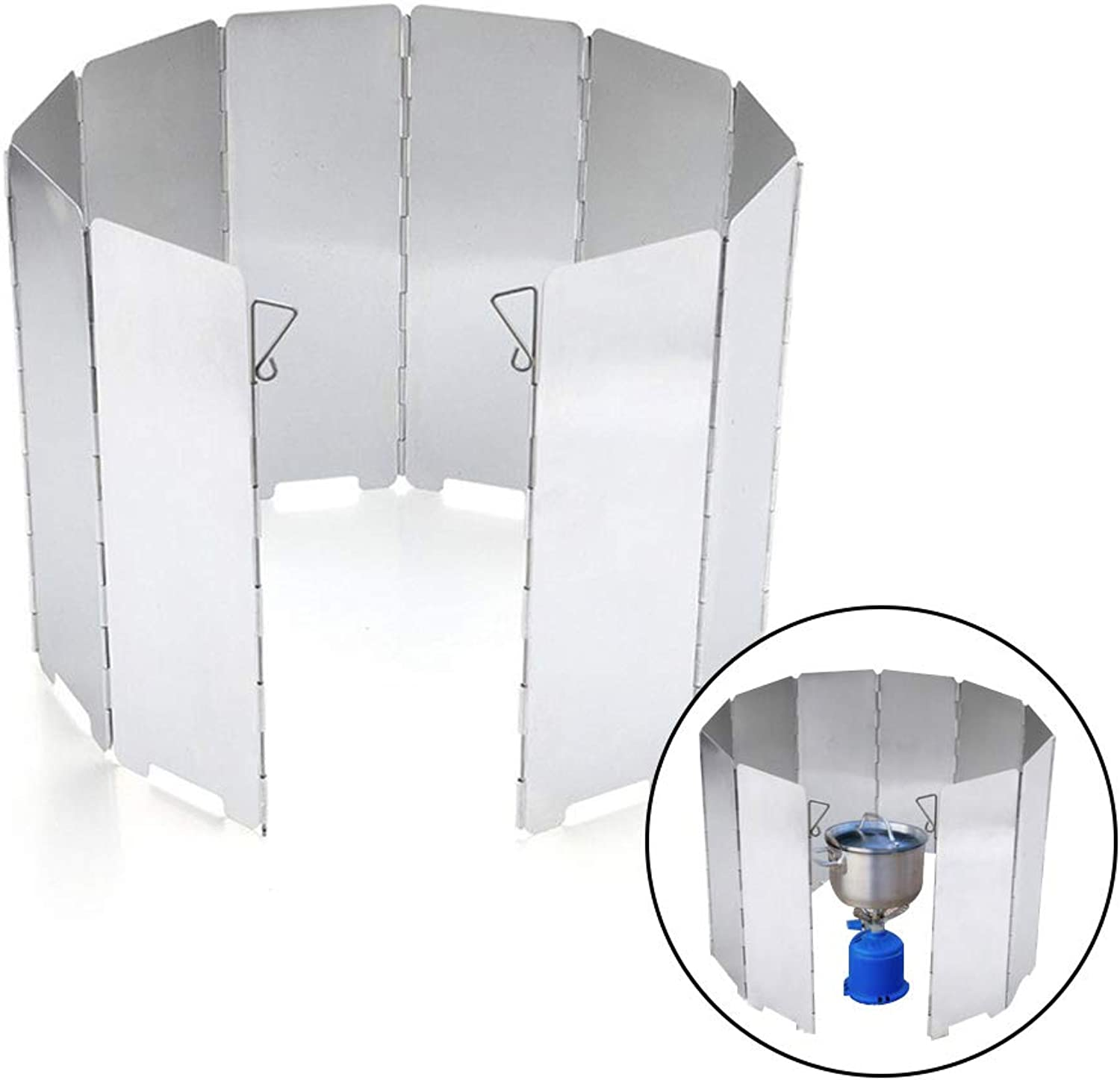 OMUKY Camp Stove Windscreen Outdoor Grill Stove Accessories Aluminum Alloy Lightweight Foldable Stove Cooker Windshield 10 Plates