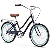 sixthreezero EVRYjourney Women's 3-Speed Step-Through Hybrid Cruiser Bicycle, 24' Wheels, 14' Frame, Navy with Brown Seat and Grips