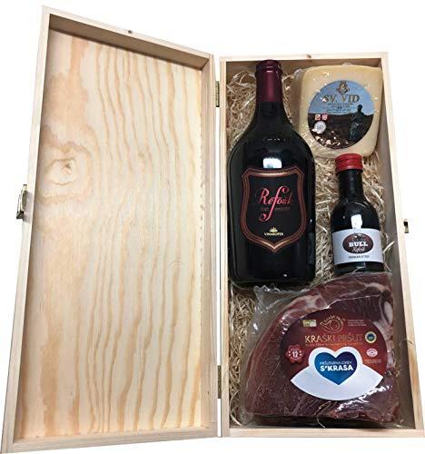 Präsentkorb Geschenkkorb Käse Wein Geschenkset mit BULL Refosk 0,1 lt in einer Geschenkbox Schatztruhe