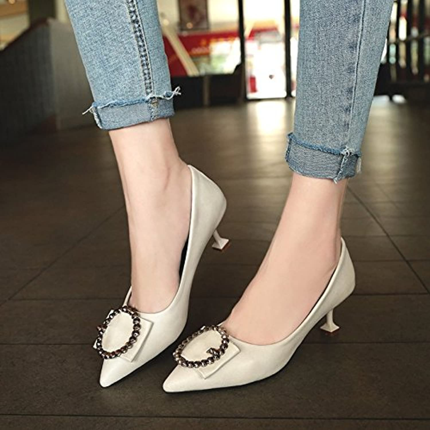 WYMBS Autumn and Winter Gifts Women's shoes Pointed, Shallow, Metal Trim, Single shoes