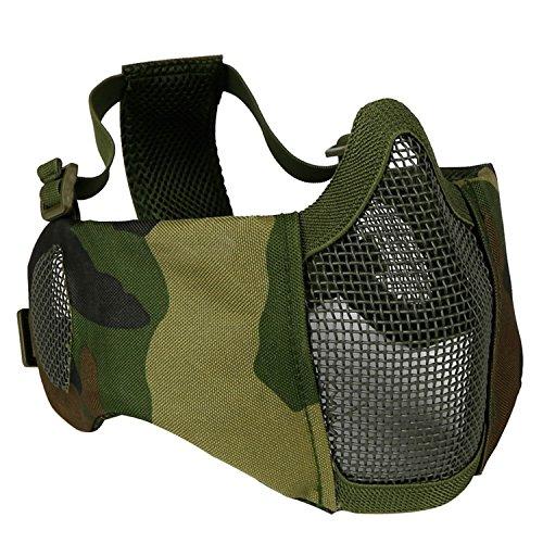 haoYK Schutzmaske, halbe Gesichtsmaske, faltbar, Metall und Netzgewebe, größenverstellbar, taktische Maske inkl. Ohrenschutz für Airsoft- und andere Schützen, Jäger, Paintball-Spieler, Woodland