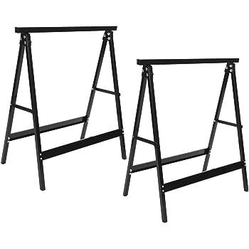 Cavalletti per Segare in Ferro Resistente Fino a 200 kg 2 Pezzi Cavalletti da Lavoro Pieghevoli