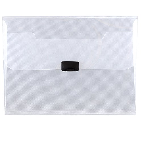 JAM PAPER Plastic Box Portfolio with Center Buckle - 9 1/2 x 13 1/4 x 1 1/8 - Clear - Sold Individually