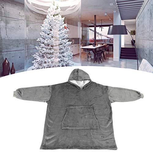 Socobeta Manta con capucha Sudadera de franela Sleepwr Tamaño libre para sala de estar Mantener caliente hogar (gris)