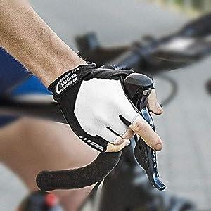 GripGrab Guantes de Ciclismo ProGel 4mm DoctorGel Carretera MTB Cortos de Verano Bicicleta Antideslizantes Acolchados, Unisex Adulto, Blanco, L