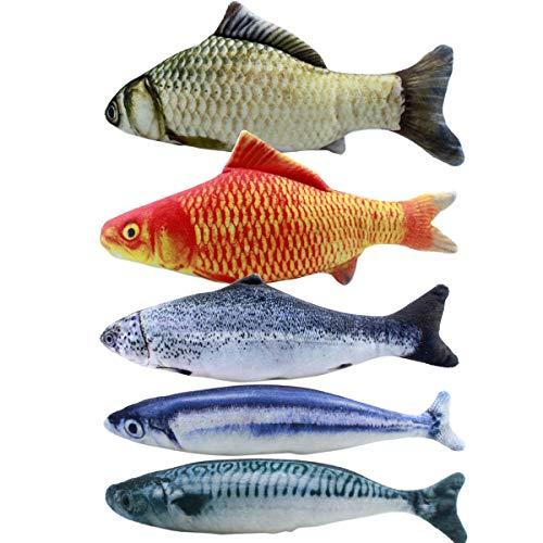 Dokpav 5pcs Juguete Hierba Gatera, 20CM Juguete para Gato, Catnip Juguetes, Forma de Pez, Juguetes Simulación Peluches Pescado, Juguetes para Mascotas, Pescados del Juguete, Interactiva Mascota